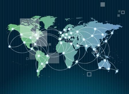 mapa mundi: Símbolo de una red mundial de comunicación internacional con un concepto de mapa del mundo con tecnología de conexión de las comunidades que utilizan los ordenadores y otros dispositivos digitales