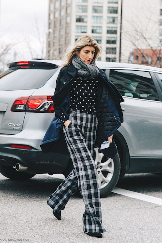 Le Fashion Blog Polka Dot Top Plaid Grey And Black Trousers Winter Coat Gray Scarf Via Collage Vintage