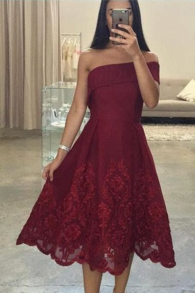Tea Length Asymmetric Lace Prom Dress,Short Formal Dresses