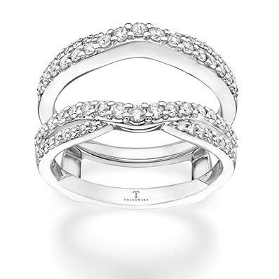 Tolkowsky Enhancer Ring 5/8 ct tw Diamonds 14K White Gold