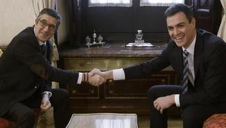 Sánchez i López, reunits al despatx del president del Congrés per posar data al debat d'investidura (EFE)
