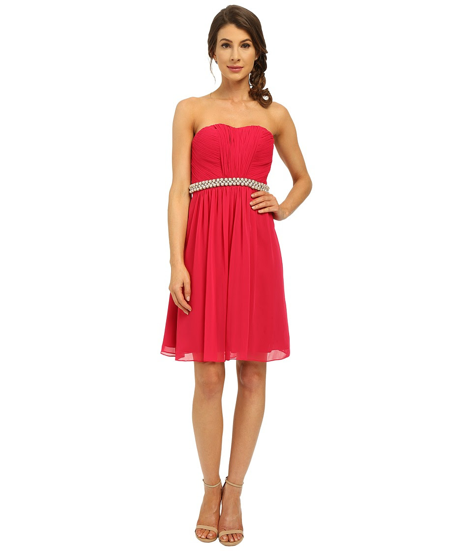 Calvin Klein - Strapless Dress with Beading at Waist CD6B1V7E (Fuchsia) Women's Dress
