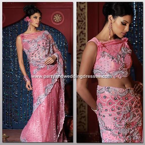 Beautiful Pink Lehnga Choli - Indian Wedding Bridal Silver Embroidery Dress Saree- Perfect Party Dress