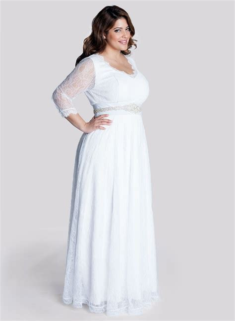 2015 Fall Long Sleeves Empire Plus Size Wedding Dress with