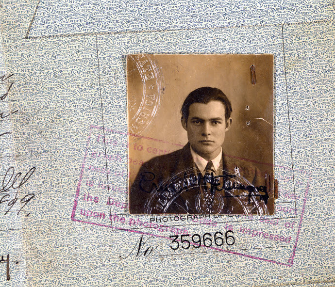 Ernest Hemingway's passport (detail), from 1923.