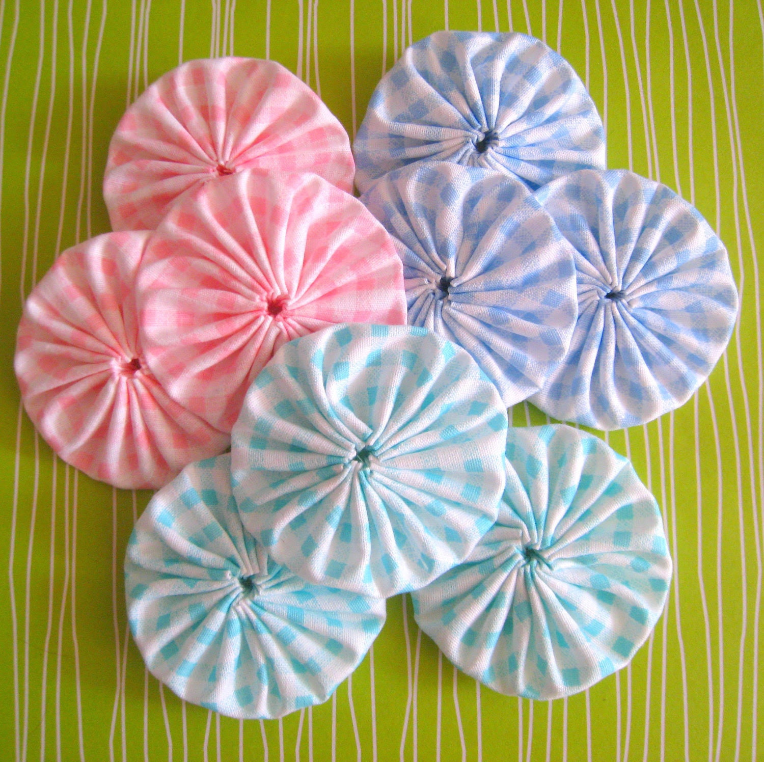 Lot of 9 , 2 inches Aqua Blue, Mint Green,  Baby Pink and White Gingham Cotton YoYo Appliques