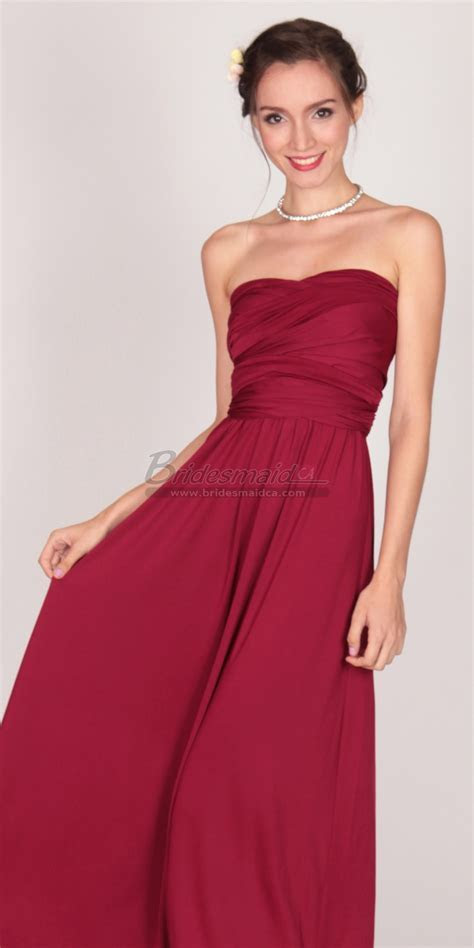 Satin Chiffon Burgundy Ankle Length Strapless Bridesmaid