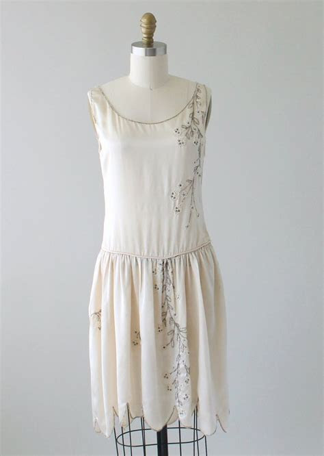 Vintage 1920s Beaded Silk Wedding Dress   Raleigh Vintage