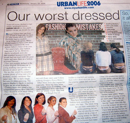 Worst Dressed - Fashion Victim article in Metro