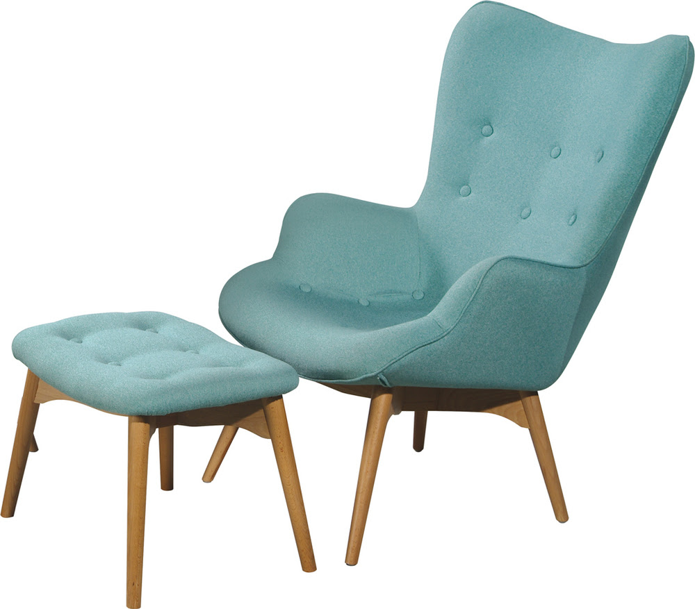 light blue reading chair with blue table