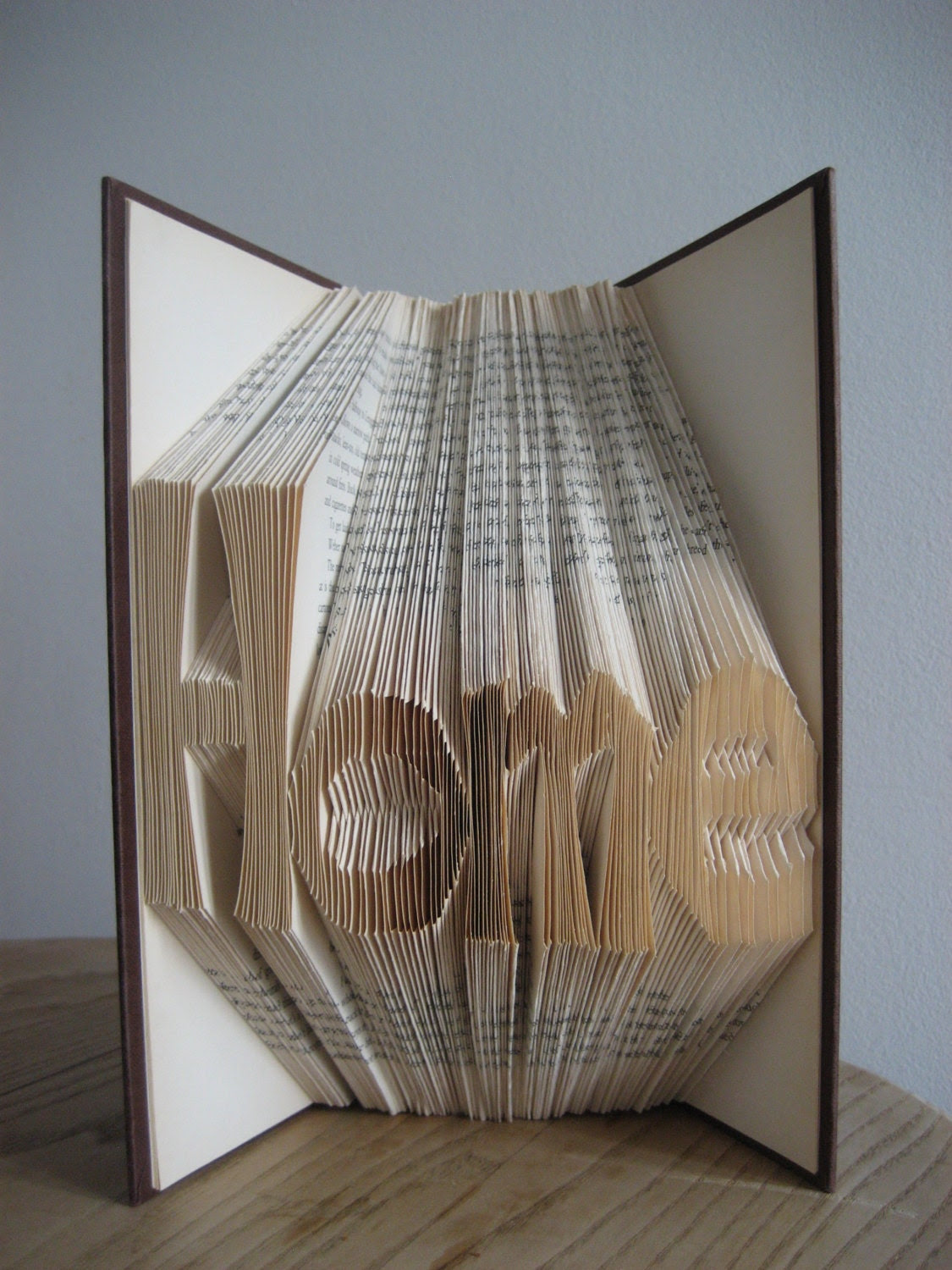 "Letter ""Home""  Folded book Sculpture-house warming gift-anniversary gift-bookshelf decor-book love"