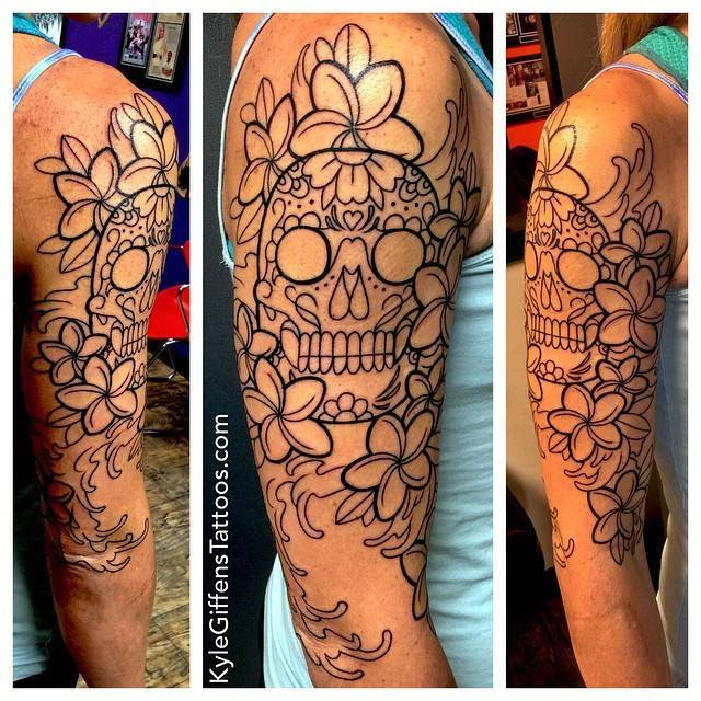 An In Progress Shot Of A Sugar Skull Half Sleeve Im Currently