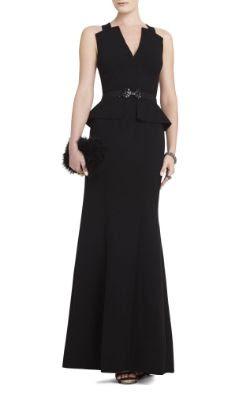 BCBGMAXAZRIA Rooney V-Neck Peplum Gown