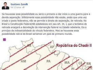 Postagem do advogado Gustavo Zanelli (Foto: Reprodução/Facebook)