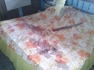 Cama onde crianças foram espancadas ficou ensanguentada (Foto: Cláudia Valéria/TV Gazeta)