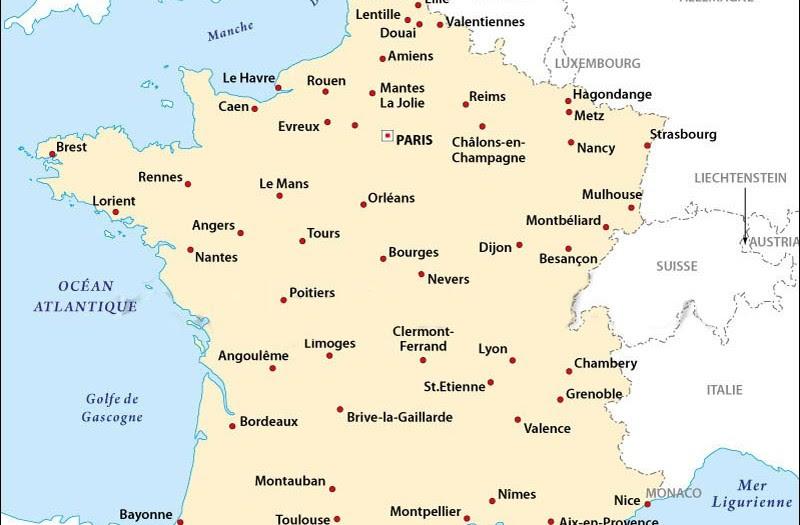 25 Belle Carte De France Avec Principales Villes