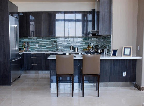 jewel-toned glass tile for backsplash