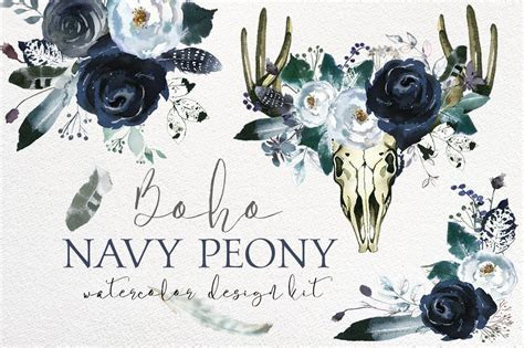 Boho Navy Peony Floral Design Kit ~ Illustrations