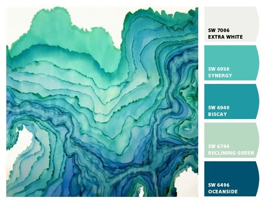 Paint colors from Chip It! by Sherwin-Williams ... greens & blues...bathroom