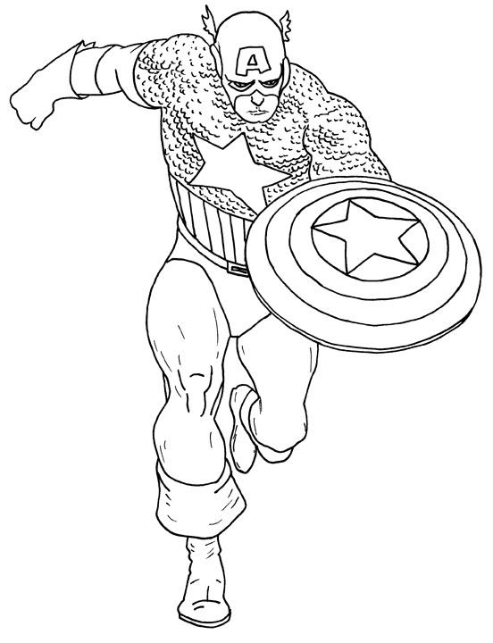 Capitan America Para Colorear Pintar E Imprimir