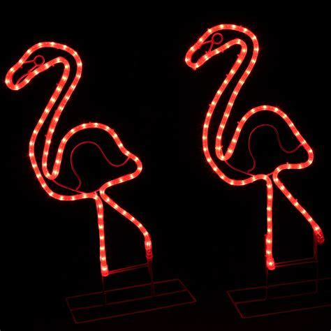 Outdoor Decoration   2' Lighted Pink Flamingo
