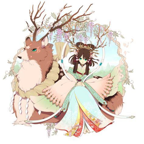 anime girl  kimono  deer  love  deers