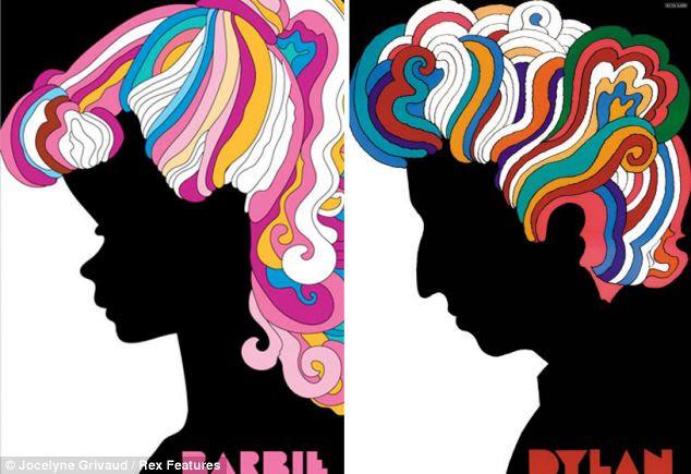 Art Nouveau: Barbie encontra o seu lado musical como ela imita um cartaz famoso de Bob Dylan de Milton Glaser
