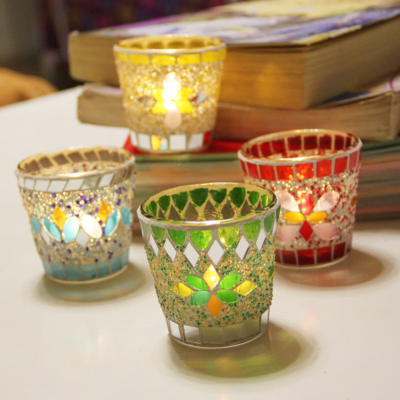 Mosaic glass candle holder wholesale unique candle holders ...