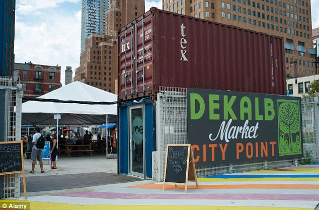Shipping souk: The Dekalb Market in downtown Brooklyn is made up of empty containers where 60 vendors sell arts and clothing