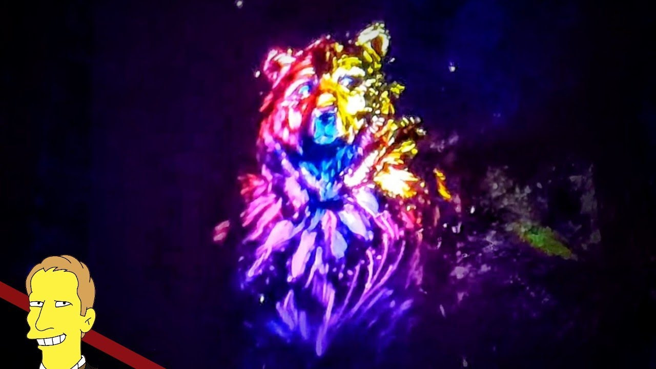 vibrant neon colored projection of a grizzley bear