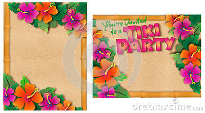 Tropical Retro Tiki Or Luau Party Invitation Stock Photography ...