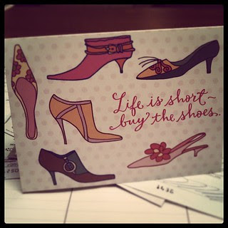 A resident put their rent check in this #notecard ... Some parts of my job are fun. #lifeisshort #buytheshoes Funny thing, I did buy #shoes today!