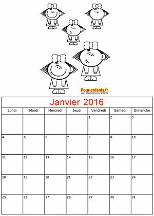 Calendrier janvier 2016 à imprimer gratuitement