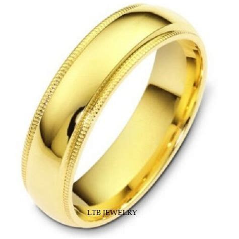 14K YELLOW GOLD MENS WEDDING BAND RING MILGRAIN 6MM   eBay