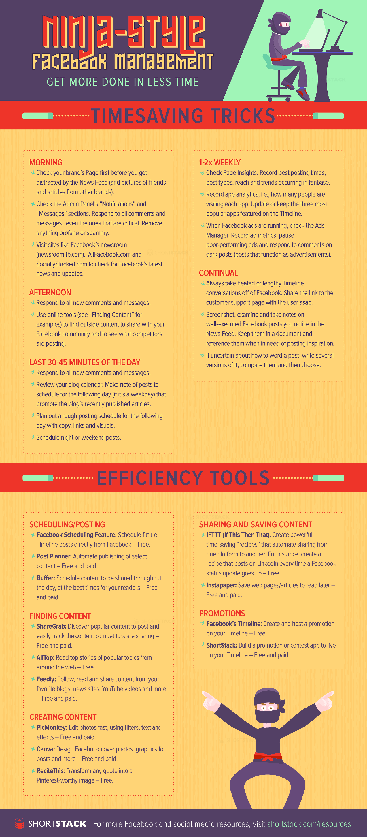 Time Saving Tricks And Tools For Facebook Management - infographic