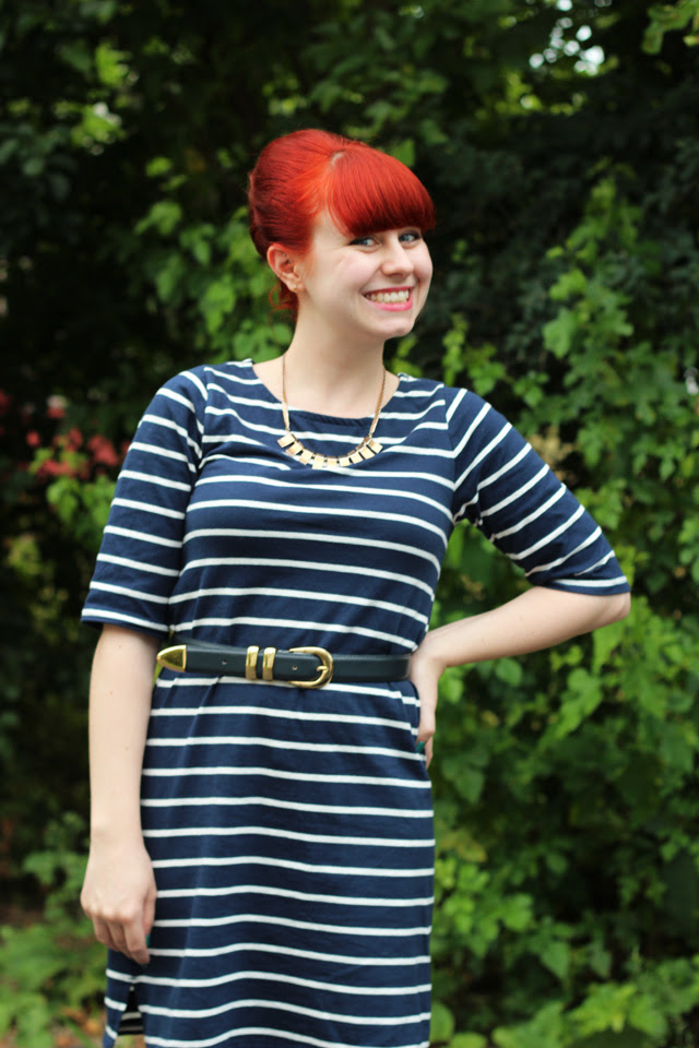 Bouffant and Striped Navy Dress