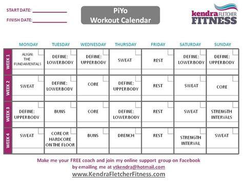 piyo schedule  workout calendar hot bod pinterest