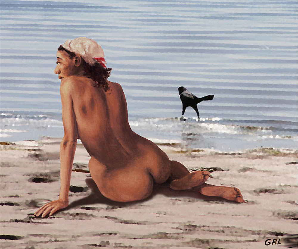 Fine Art Female Nude Multimedia Oil Painting Stacy Sitting Gulf Coast Florida. Paintings and prints, landscapes/seascapes, boats, sea and shore, abstracts, nudes, female nudes... Original fine art work by G. Linsenmayer.