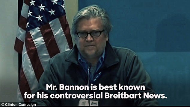 Hillary Clinton is able to make the argument that Donald Trump is tied into the 'alt-right' because of Trump's hiring of  Breitbart's Stephen Bannon (pictured in today's attack ad). Breitbart is credited with taking the 'alt-right' movement more mainstream