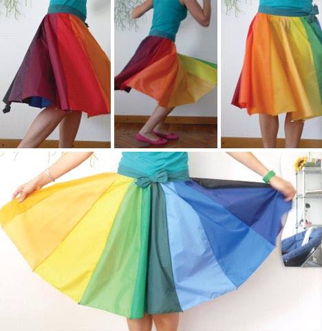 upcycling color umbrella skirt