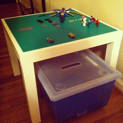 Made a Lego table for my son. Ikea table with Lego base plates glued to the top with a storage bin on casters underneath. I'm hoping it helps preserve my sanity.
