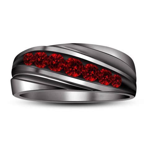 Brilliant black and red wedding rings   Matvuk.Com