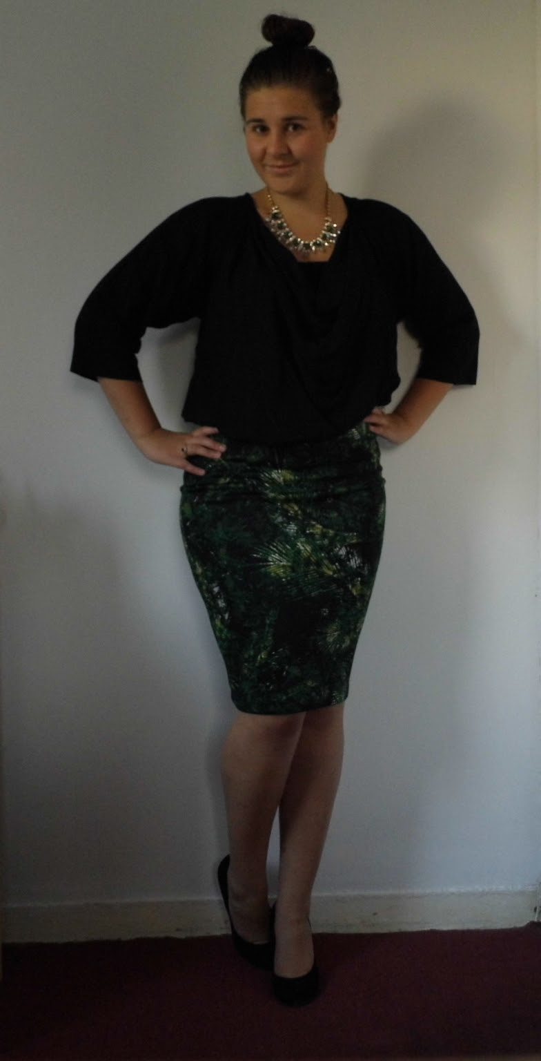 French Connection blouse & Palm Print Skirt