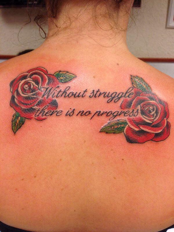 Tattoo Vrouw Rozen En Tekst Carmen Jims Jims
