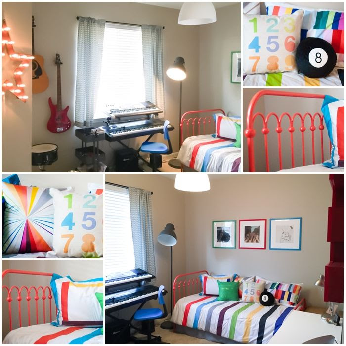 change a guest room to a simple music room for teens, bed & bedding from 9 by Novogratz