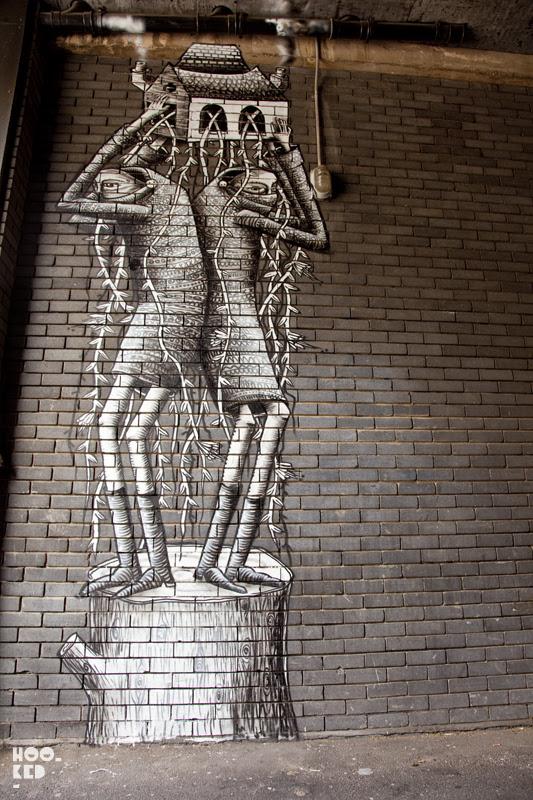 Street Artist Phlegm Mural In Old Street, London