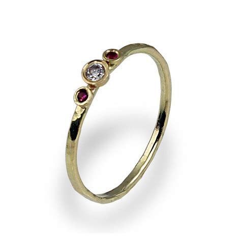Diamond Engagement Ring , Ruby Engagement Band , Thin