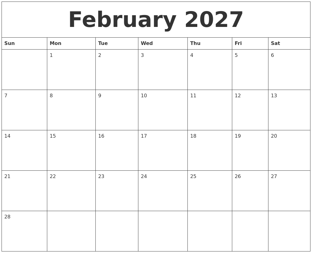 february 2027 free monthly printable calendar