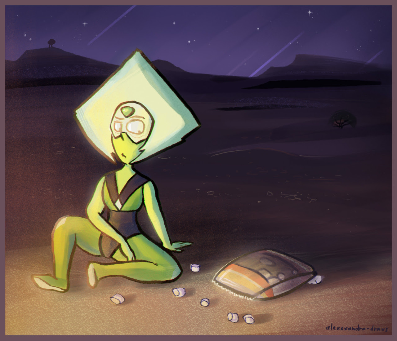 ..This is life for you now - endless suffering!.. *Peridot gets enraged after being attacked by a swarm of marshmallows flying at her while monster watches her form distance*