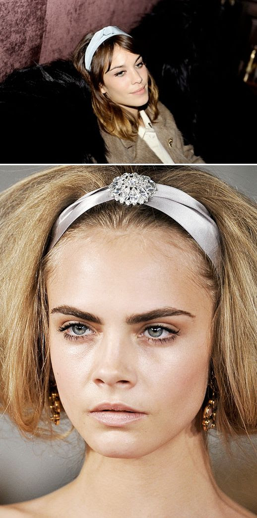 PRETTY ORNATE EMBROIDERED TURBAN KNOT HEADBANDS OSCAR DE LA RENTA FW FASHION WEEK 2012 ALEXA CHUNG LIGHT BLUE MULBERRY PARTY CARA DELEVINGNE